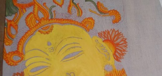 Kerala mural painting on saree